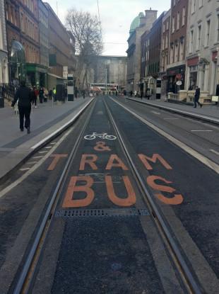The Luas tracks on Dawson Street.
