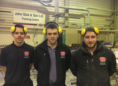 Apprentices Sean Carter, Conor Milligan, James McSwiney at the Sisk training centre.
