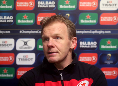 Mark McCall at the post-match press conference following Saracens' Champions Cup defeat to Clermont-Auvergne.