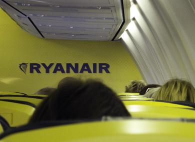Passengers sitting in a Ryanair airplane in Germany.