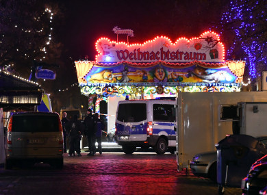 Police forces cordon off the streets around a Christmas market in the inner city of Potsdam in Germany.