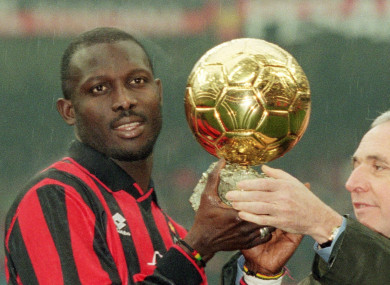 George Weah presented with the Ballon d'Or in 1995.