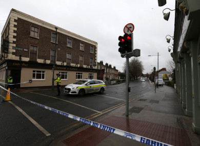 Gardai at the scene of the shooting yesterday.