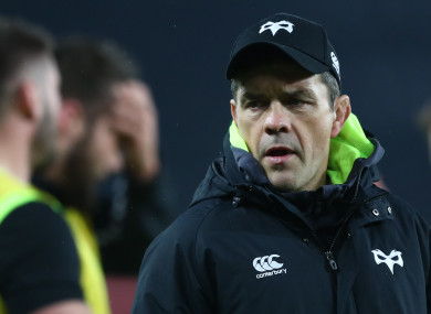 Clarke on the sideline during Ospreys' meeting with Saracens this month.