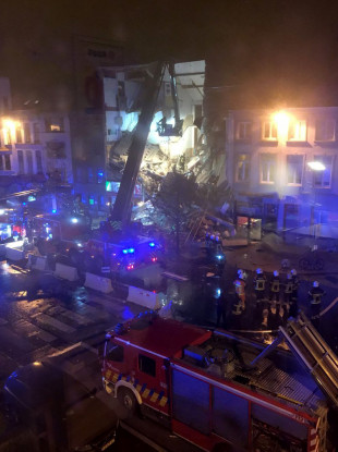 This image taken from the Twitter page of Sigrid Vermeulen shows a collapsed building in Antwerp, Belgium.