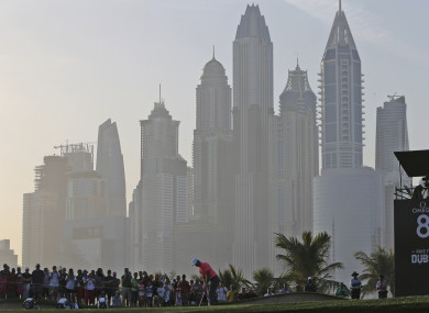 Rory McIlroy plays a shot on the 8th hole during the second round of the Dubai Desert Classic.