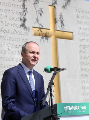 Fianna Fail leader Micheál Martin speaking at the 100th anniversary of the Easter Rising.