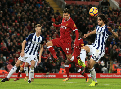 Liverpool's Roberto Firmino with West Brom pair Jonny Evans and Ahmed Hegazy.