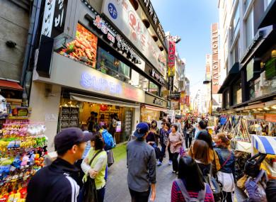 Myeong-Dong shopping street in Seoul, South Korea.