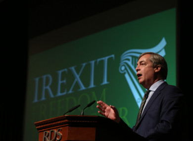 Farage speaks at last weekend's Irexit conference.