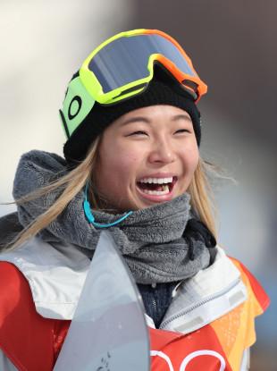 USA's Chloe Kim during the Ladies Halfpipe Snowboard Qualification.