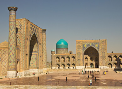 A fragment of Registan Square Mosque and Madrasah complex in Samarkand, Uzbekistan.