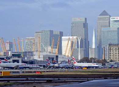 Planes on the runway at London City Airport (file photo).