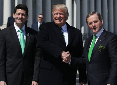 House Speaker Paul Ryan, US President Donald Trump, and former Taoiseach Enda Kenny on St Patrick's Day last year.