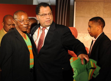 Zaire former player Ndaye Mulamba with OC CEO Danny Jordaan pictured at an event prior to the 2010 World Cup.