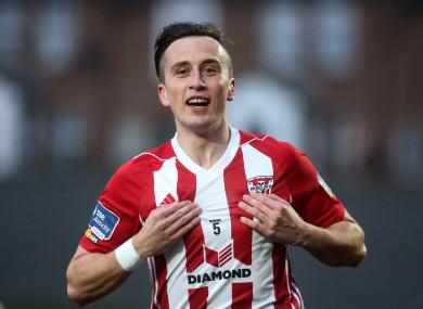 Aaron McEneff celebrates scoring for Derry City on Friday night.