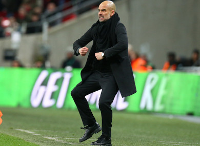 Pep Guardiola pictured on the touchline during Sunday's League Cup final.