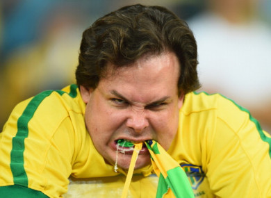 An emotional Brazil fan reacts after being defeated by Germany 7-1 during the 2014 FIFA World Cup.