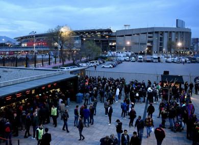 Fans outside Camp Nou before Barcelona v Chelsea.