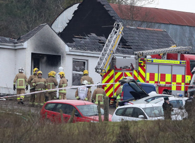 The scene of the fire at Derrylin, Co Fermanagh