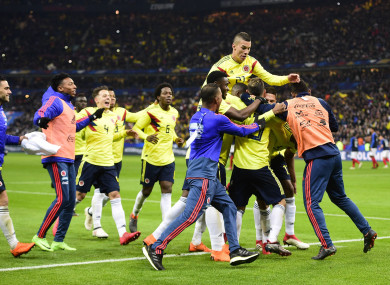 Colombia celebrate a goal.