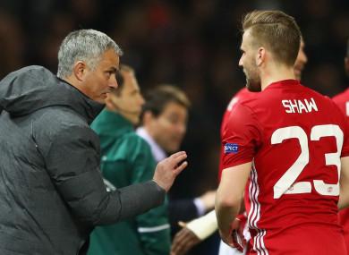 Jose Mourinho addresses Manchester United defender Luke Shaw.