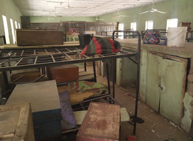 In this photo taken earlier this month luggage belonging to the kidnapped girls remains in the dormitory in the Government Girls Science and Technical College Dapchi, Nigeria.
