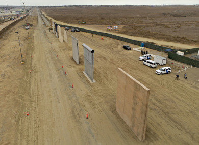 The eight wall prototypes are standing outside San Diego near Tijuana.