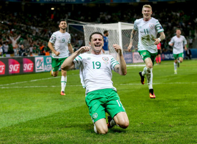 Robbie Brady celebrates after scoring against Italy in Lille, June 2016.