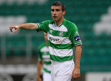 Robert Bayly in action for Shamrock Rovers in July 2014.