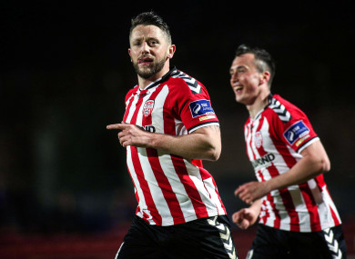Rory Patterson celebrates scoring for Derry.