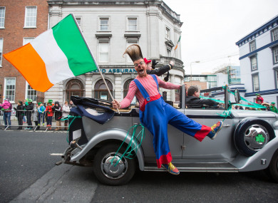 Edward Fossett aka Otto the Clown from Fossetts Circus at Limerick's St Patrick's Day Parade.