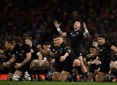 A general view of the All Blacks doing the Haka (file pic).