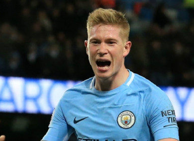 Kevin de Bruyne missed out on the PFA Player of the Year accolade.