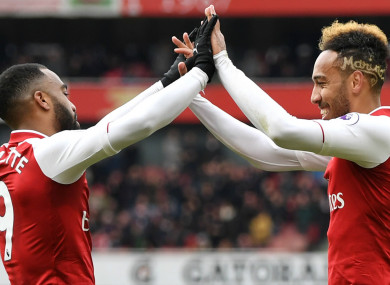 Gunners goalscorers Lacazette and Aubameyang.