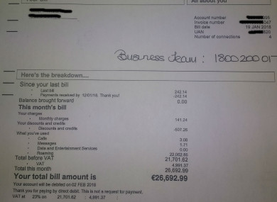 Man receives €26,692 mobile bill from Three after returning home