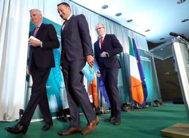 (Left to right) Michel Barnier, Taoiseach Leo Varadkar and Simon Coveney after a press conference at the Dundalk Institute of Technology.