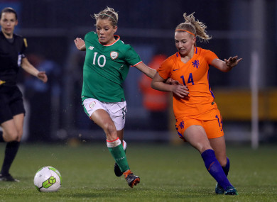 Ireland's Denise O'Sullivan and Jackie Groenen of Holland.