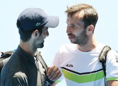 Novak Djokovic and Radek Stepanek at the Australian Open