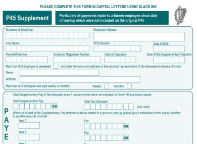 Revenue's current P45 form