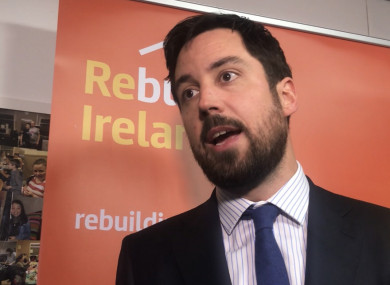Housing Minister Eoghan Murphy speaking to reporters in Dublin 8 this morning.
