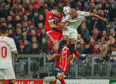 Javi Martinez and Steven N Zonzi compete for the ball.