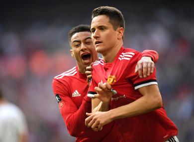 The Spaniard celebrates putting Man United ahead at Wembley.