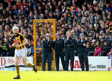 The Tipperary management watch on during yesterday's clash with Kilkenny.