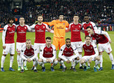 The Arsenal team line up during last night's match.