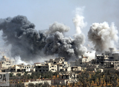 File P O Of Smoke Rising After The Syrian Armys S Ing Targeted The Douma District In Eastern
