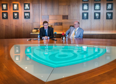 GAA Director-General Tom Ryan and President John Horan at yesterday's briefing.