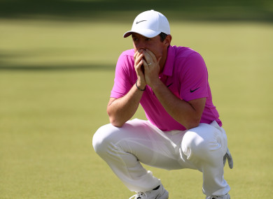 Rory McIlroy reacts during day four of the 2018 BMW PGA Championship.