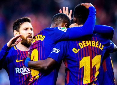 cheap for discount db367 95efc Dembele at the double as champions Barcelona close in on ...
