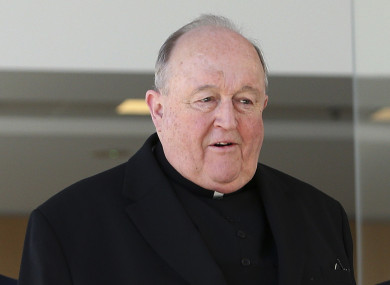 Archbishop Philip Wilson leaves the Newcastle Local Court in Australia today.